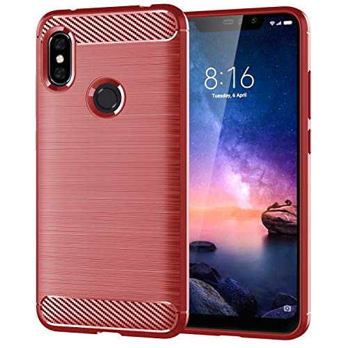 Prevoa Funda Xiaomi Redmi Note 6 Pro,[Ultra-Delgado][Shock-Absorción][Anti-Arañazos] TPU Silicona Parachoques Funda para Xiaomi Redmi Note 6 Pro - Rojo
