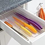 InterDesign Linus Portacoltelli da cassetto, grande Portaposate in plastica con 8 scomparti per coltelli, trasparente