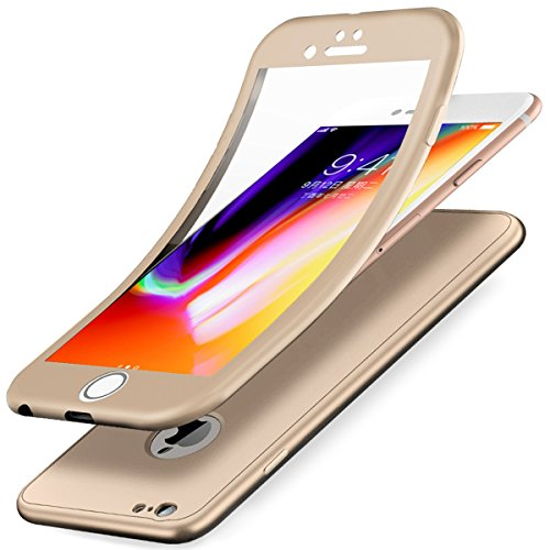 iPhone 6S Hülle,iPhone 6 Hülle,ikasus Full-Body 360 Grad Panzerglas Schutzfolie TPU Silikon Hülle Handyhülle Tasche Case Front Back Double Beidseitiger Cover Schutzhülle für iPhone 6/6S Hülle,Gold