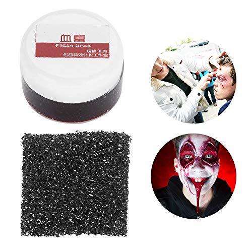 Gefälschte Blut Gel mit Make-up Schwamm, Halloween Make-up professionelle Gesicht Körperfarbe Öl gefälschte Clot Blood Gel Vampir Scars Halloween Prellungen (03# Super Großes Loch)