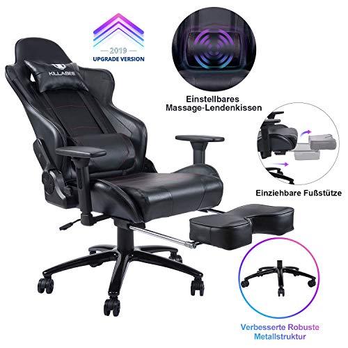 KILLABEE Gaming Stuhl Verstellbares Massage Lendenkissen Einziehbare Fußstütze, verstellbare Armlehne und hohe Rückenlehne aus Leder im Rennstil für Computer Schreibtisch oder als Leder Bürostuhl