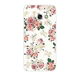 Aksuo for Samsung Galaxy A5 2017 Case,Women Girls boy Men Printed Transparent Clear Design Plastic Case with TPU Bumper Protective Cover,Flowers White Background