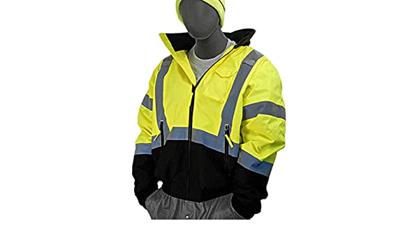 Hi-Vis Quilt Lined Class 3 Yellow Majestic Gloves Black Bottom Majestic Glove 75-1313//T4 Bomber Jacket 4X-Large//Tall