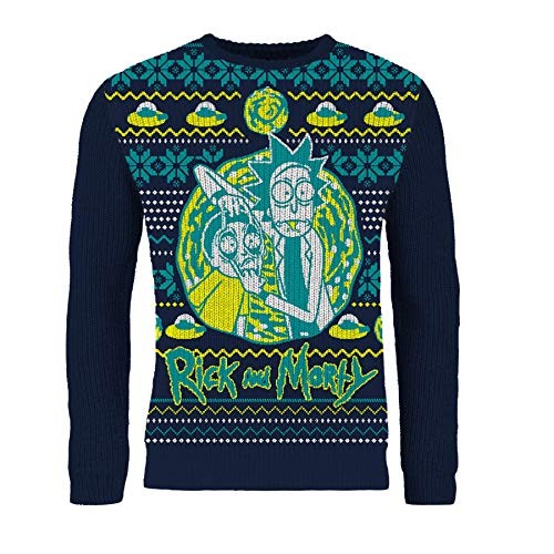 London Co. Rick & Morty Navy Unisex Christmas Knitted Jumper Medium