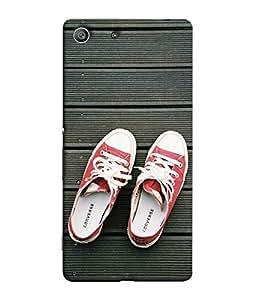 FUSON Designer Back Case Cover for Sony Xperia M5 Dual :: Sony Xperia M5 E5633 E5643 E5663 (Skating Shoes Leather Fly Wheels)
