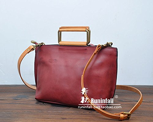 Fermeture à glissière simple vintage original sac en bandoulière sac bandoulière en cuir petit paquet Red Brown