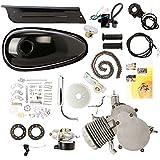 HPcutter Kit de Motor para Bicimoto de Dos Tiempos y 80 cc en Silenciador cromado Gas Engine Motor 2 Stroke Cycle Electric Bicycle Bike (Plata)