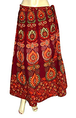 Printed Indian Long Skirt Wrap Around Skirt Womens Cotton Ethnic