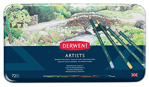 Derwent Artists - Lápices de colores (72 colores de madera, en estuche de metal)