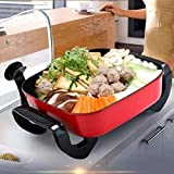 AZHom Electric Grill Home MultiFunction Electric Hot Pot NonStick and No Oil Smoke Square Pot Barbecue Frying Pan 1500W