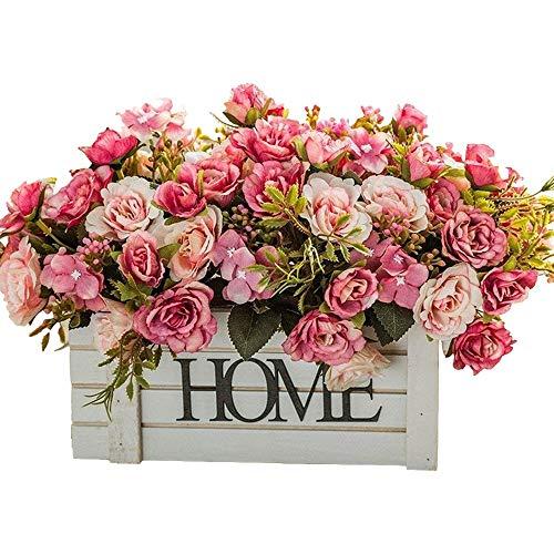 Jnseaol fiori artificiali fiori artificiali fiori finti regali di festa davanzale festa di nozze hotel decorazioni per la casa recinzione in legno pentola fai da te rosso -48