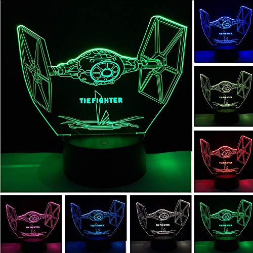 (Mzdpp Coole Tie Fighter 3DLed 7 Farbwechsel Nachtlicht Schlafzimmer Weihnachten Halloween Dekor Fans Geschenke)