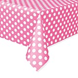Plastic Hot Pink Polka Dot Tablecloth, 9ft x 4.5ft
