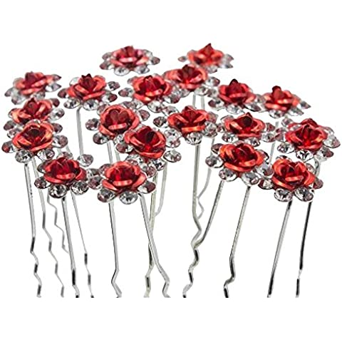 Contever Elegant 1 Set of 20pcs Wedding Bridal Party Artifical Diamante Rhinestone and Prom Flower Hair Pins Clips Grips Pins Hairpins Bridesmaid Clips - Red by Contever