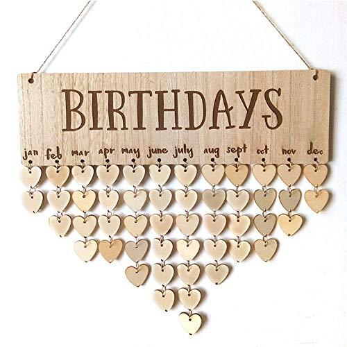 Pawaca Geburtstags-Erinnerungsschild, Kreatives DIY Holz Handwerk Geschenk Wand Hängeschild Tafel für Familie Freunde Geburtstag Erinnerung mit 102 Teilen Birthdays (Tafel Birthday Schild)