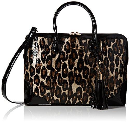 SwankySwansHarper Double Zip In Leopard - Borsa Tote donna Black (Black)