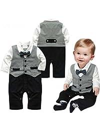Bebé Pelele de moda caballero manga larga Niños Ropa babysuits chaleco de una pieza trajes para bebé