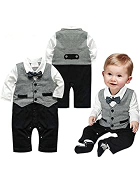 Baby Boy Fashion Gentleman Romper Long Sleeve Kids Clothes Fit BabySuits One-Piece Vest Baby