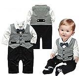 Tutina/pagliaccetto per neonato, manica lunga, monopezzo, stile gentleman Grey 0-6 mesi