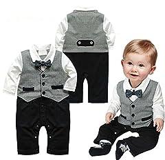 Idea Regalo - Tutina/pagliaccetto per neonato, manica lunga, monopezzo, stile gentleman Grey 0-6 mesi