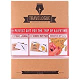 ONEVER Travelogue Scratch Map Page Travel Journal Tourist Notebook, A Perfect Gift for the Trip of A Lifetime (Brown)