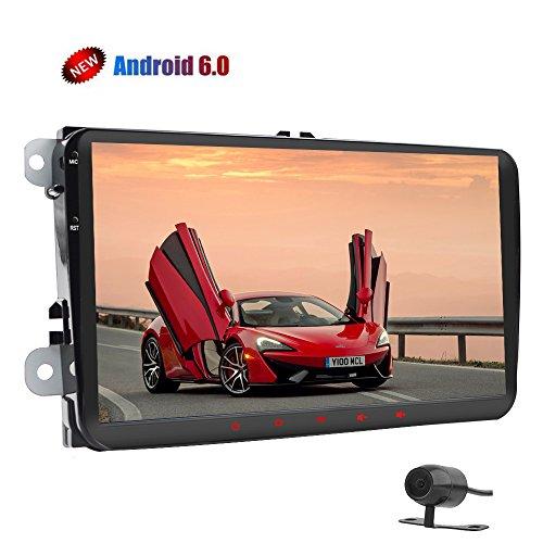 Copia de seguridad cámara + Android 6.0Quad Core Doble Din coche reproductor con navegación GPS pantalla táctil de 9pulgadas 1280* 720coche estéreo receptor de radio en Dash Unidad Central Autoradio Bluetooth protector de enlace SWC para Volkswagen (No-DVD Reproductor)