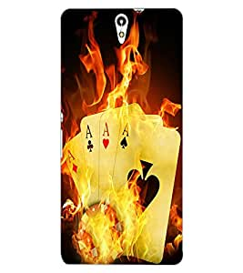 ColourCraft Cards on Fire Design Back Case Cover for SONY XPERIA C5 E5553 / E5506