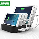 Stazione di ricarica, FlePow 5-Porte Staccabile Universale USB Dock Station di ricarica con Diaframmi Rimovibile l'innovativa per Smart Phones & Tablets, Nero immagine
