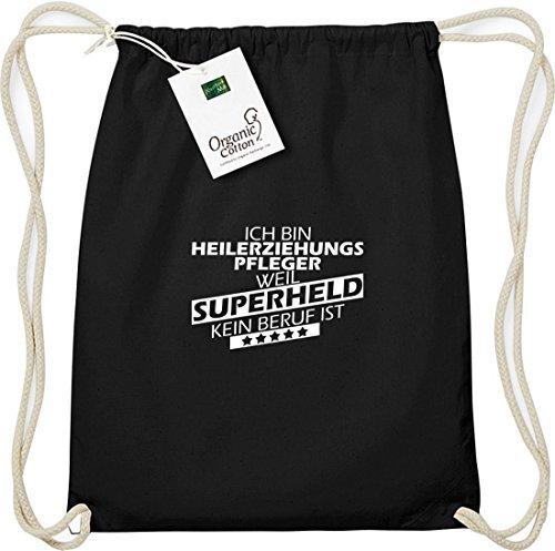 shirtstown organico Gymsac Ich bin heilerziehungspfleger, WEIL supereroe NESSUN occupazione è Nero
