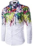 Leslady Homme Chemises Casual Imprimé Fantaisie Multicolore Tops Slim Fit Haut à Manches Longues (M, C216 Fleur)