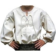 Mittelalterhemd naturbeige Kinder-Schnürhemd Piraten-Hemd S-XXXL