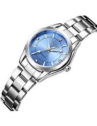 Femme montres décontracté Mode étanche montres Diamant de Strass poignet montre à quartz–Bleu clair