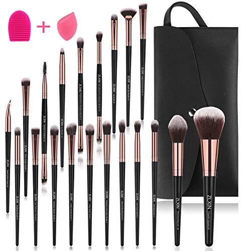ZLXIN Pinceaux de Maquillage 23 PCS Brosses de Maquillage/Kit avec Sac et Éponge de maquillage,Nettoyeur pour Pinceaux de Maquillage (20+3 Pcs/Kit)