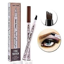 Turelifes Tattoo Augenbrauenstift mit 4Tips Langanhaltendes wasserdichtes Brow Gel für Augen Make-up (# 1 Kastanie (Dunkelbraun))