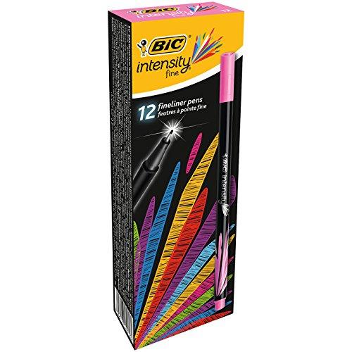 BIC Intensity Fine rotuladores punta fina (0,8 mm) - Rosa, Caja de 12 unidades