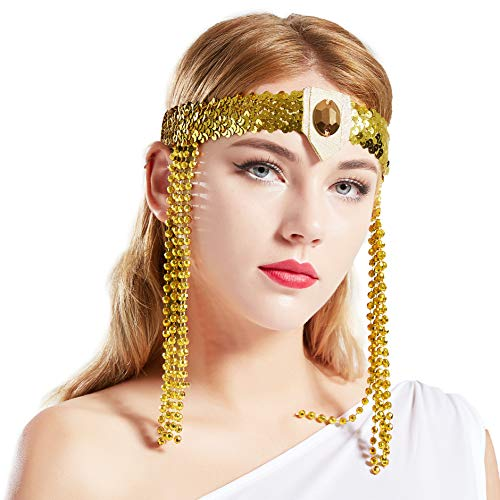 Coucoland Damen Vintage Pailletten Stirnband Ägyptisch Stil Haarband Motto Party Damen Fasching Kostüm Accessoires - Ägyptischen Stil Kostüm Schmuck