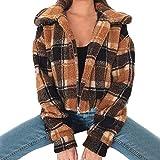 AMUSTER Damen Mantel Revers Lose Langarm Outwear Tasche Reißverschluss Winterjacke Frauen Plaid Coat Damen Kunstpelz Borg Zipper Kurze Bomberjacke Outwear