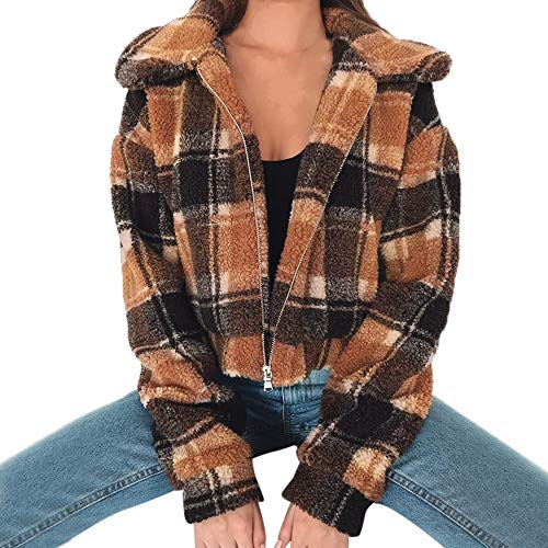 AMUSTER Damen Mantel Revers Lose Langarm Outwear Tasche Reißverschluss Winterjacke Frauen Plaid Coat Damen Kunstpelz Borg Zipper Kurze...