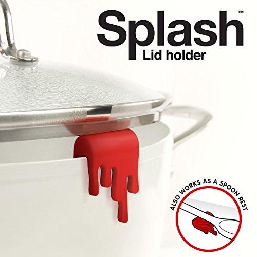 Just Mustard M 13008 Splash Lid Holder Set di 2 Reggi Coperchio per Pentola, Plastica, Rosso