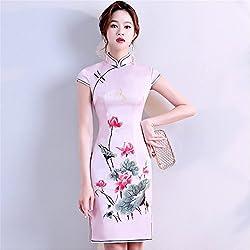 8a20a51bdf YAN Vestido de Mujer Vestido Chino Cheongsam Qipao Bordado Vestido cóctel  Boda Diario vistiendo L