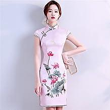 YAN Vestido de Mujer Vestido Chino Cheongsam Qipao Bordado Vestido Cóctel Boda Diario vistiendo L,