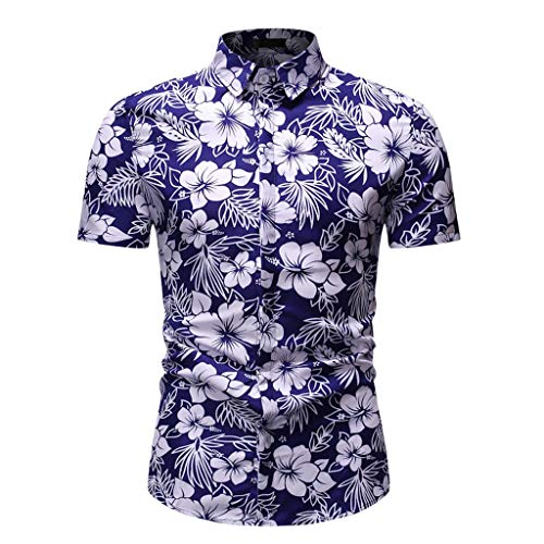 Top Camicetta Camicia Casual Button Down Manica Corta Camicia Hawaiana Comody Colletto con Risvolto Stampato Slim Fit Uomo (XL,11- Blu)