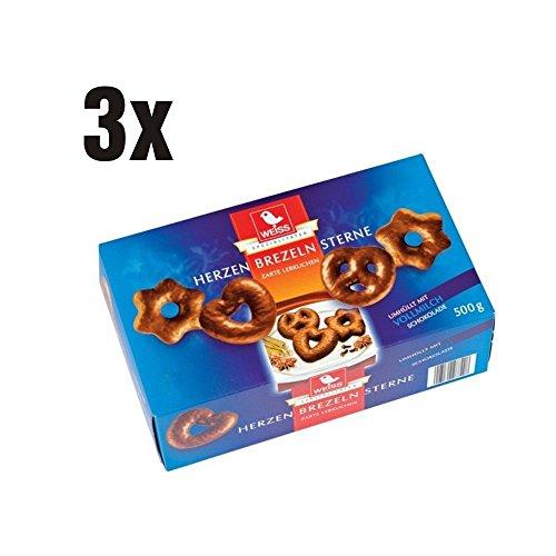 Weiss zarte Lebkuchen Herzen, Sterne, Brezeln Vollmilch 3er Set (3x500g Box blau)