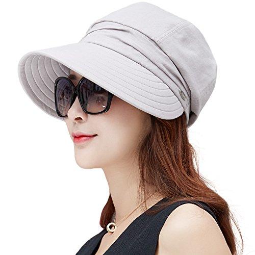 SIGGI Damen Baumwolle Faltbarer Sonnenhut mit Visor Sommer UPF 50+ grau
