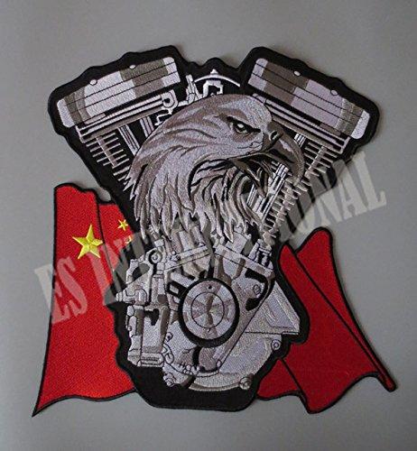 Nuovo motore di Eagle Twin bandiera cinese 11.2inches ricamo patch per il rivestimento indietro la maglia Motorcycle Club motociclista fuorilegge 27,4 centimetri * 28,6 centimetri