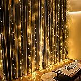 300 LEDs Vorhang-Licht Mit 8 Modi Für Weihnachten Neujahr Party Hochzeit Decorazione casa Luci natalizie Decorazioni da giardino (Bianco caldo)
