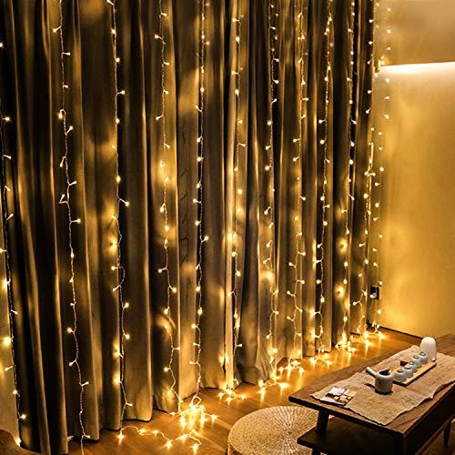 OMGAI LED Vorhang Lichter, 300 LEDs, 36V 6W, 3m x 3m Vorhang-Licht Mit 8 Modi Für Weihnachten, Neujahr, Party, Hochzeit, Home Decoration, Warmweiß