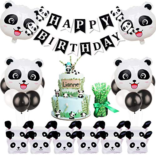 JOYMEMO Panda Birthday Party Dekorationen mit Panda Cake Figurine, Mitbringsel Taschen, Bambus Strohhalme für Panda Party - Shower Baby Pops Cake