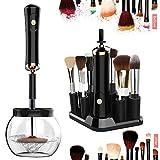 Limpiador de Brochas de Maquillaje,Pinceles de Maquillaje Limpieza y Secado Automático con 8 Adaptadores de Silicona 360 Grados Limpieza y Seca Pinceles en Segundos (Negro)