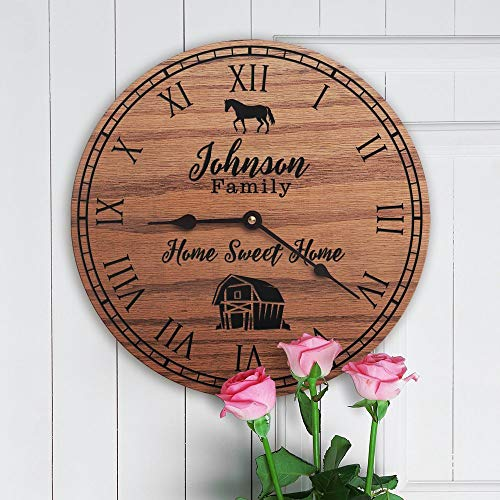 mengliangpu8190 Personalized Horse Decor Gift Horse Farm Decor Lexington Kentucky Custom Date Horse Stable Horse Ranch Family Name Horse Farm Clock Only 12
